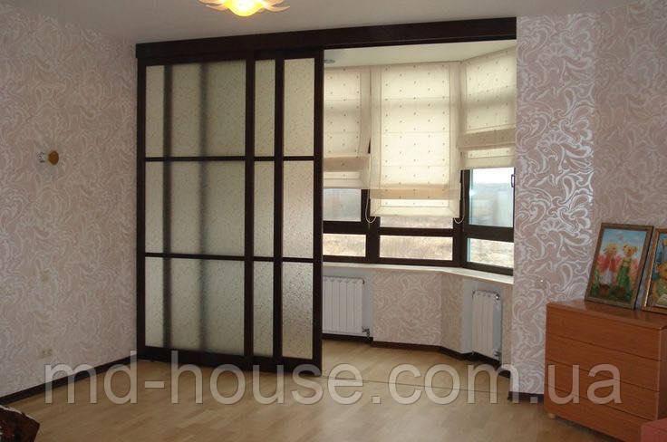 подвесные раздвижные двери на балкон профиль венге и стекло сатин продажа цена в киеве перегородки для офиса и дома от Md House 945610554