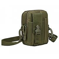 Тактическая универсальная (поясная) сумка - подсумок с ремнём Mini warrior с системой M.O.L.L.E (с101 олива), фото 1