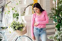 Лонгслив для беременных и кормления - розовый