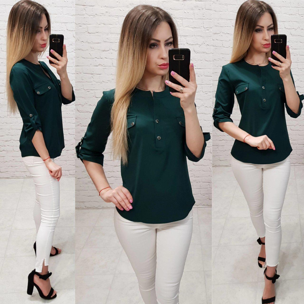 Блуза / блузка арт. 829 бутылочный / темно зеленый