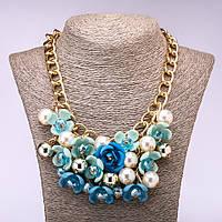 """Колье """"Голубые цветы"""" L-45-55см"""