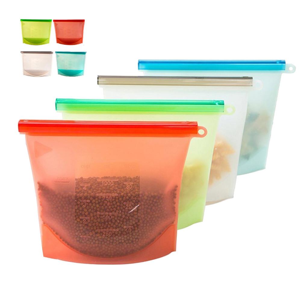 Многоразовые Силиконовый Продукты питания свежие Сумки Хранение Герметичные контейнеры для холодильника Кухня Вакуум Сумка - 1TopShop
