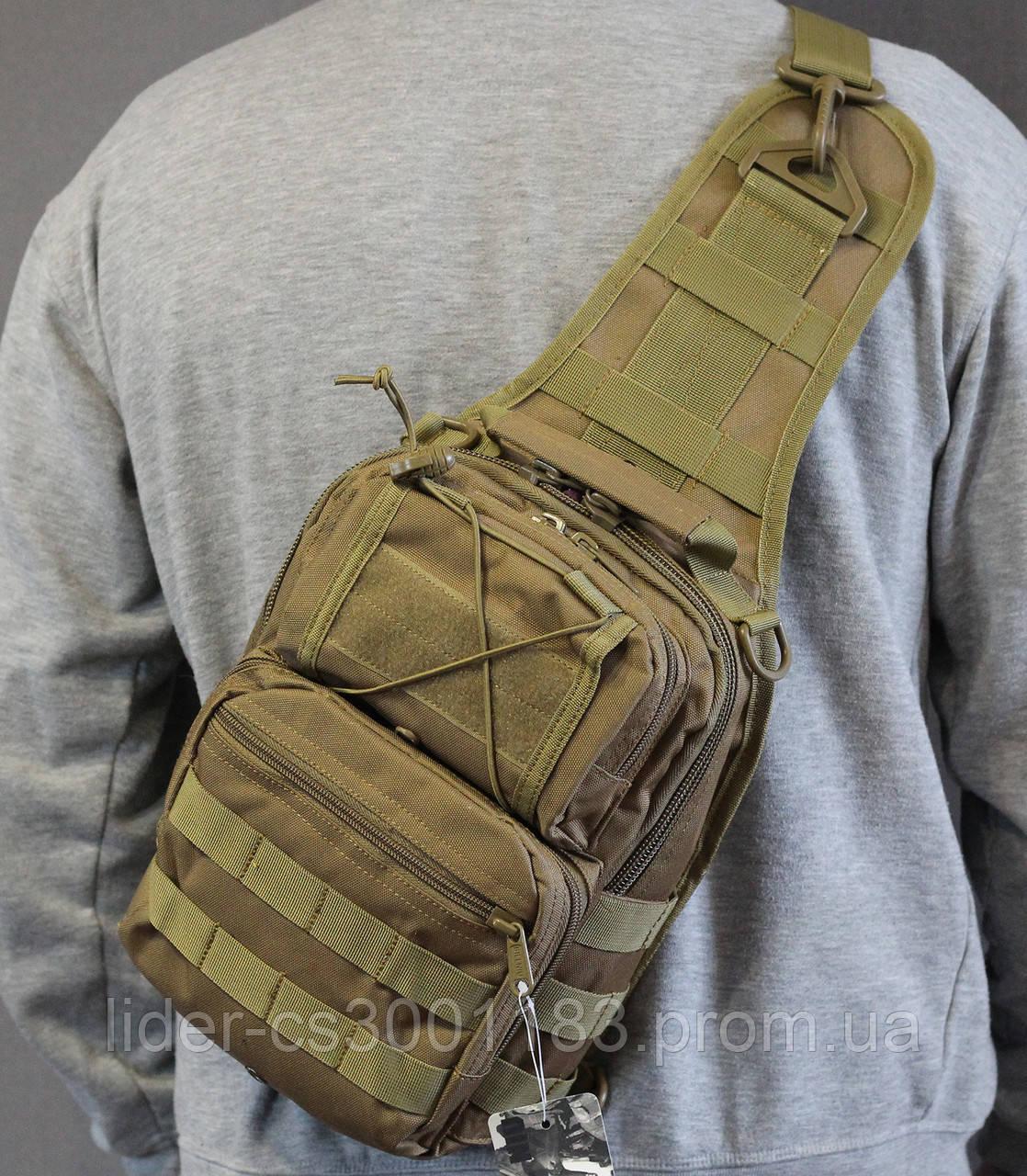 Тактическая - штурмовая универсальная сумка на 6-7 литров с системой M.O.L.L.E Олива (095-olive)