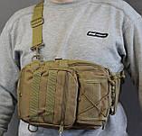 Тактическая - штурмовая универсальная сумка на 6-7 литров с системой M.O.L.L.E Олива (095-olive), фото 3