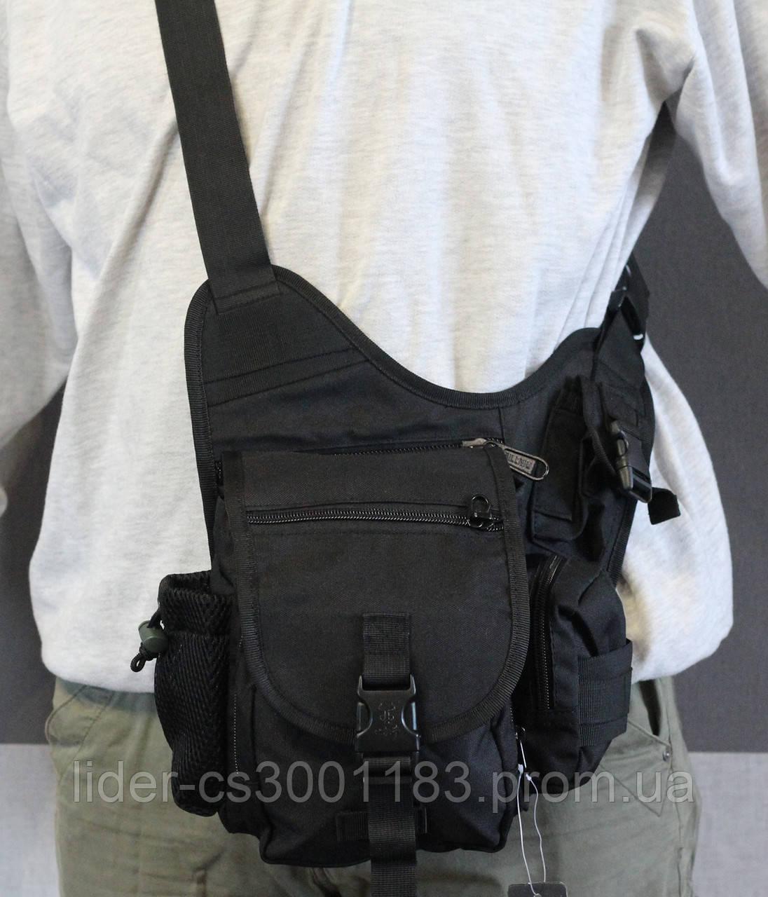 Тактическая - городская универсальная сумка Silver Knight с системой M.O.L.L.E Черный (845-black)