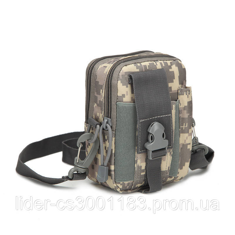 Тактическая универсальная (поясная) сумка - подсумок с ремнём Mini warrior с системой M.O.L.L.E (101-pixel)