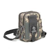 Тактическая универсальная (поясная) сумка - подсумок с ремнём Mini warrior с системой M.O.L.L.E (101-pixel), фото 1