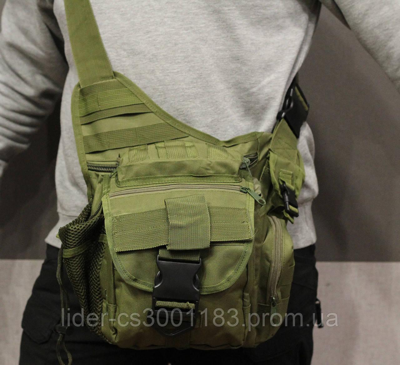 Сумка плечевая универсальная большая, тактическая и туристическая сумка с системой M.O.L.L.E Olive (860-olive)