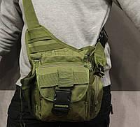 Сумка плечевая универсальная большая, тактическая и туристическая сумка с системой M.O.L.L.E Olive (860-olive), фото 1