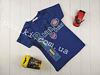 Летняя синяя футболка с надписями для мальчика 5-8 лет
