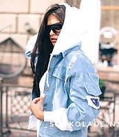 Куртка джинсова з трикотажними рукавами і капюшоном, стильна, 1203-022