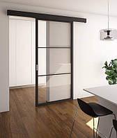 Раздвижные подвесные межкомнатные двери из стекла и алюминиевого профиля