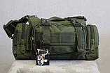 Тактическая универсальная (поясная, наплечная) сумка Silver Knight с системой M.O.L.L.E (105-olive), фото 3
