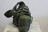 Тактическая универсальная (поясная, наплечная) сумка Silver Knight с системой M.O.L.L.E (105-olive), фото 4