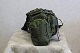 Тактическая универсальная (поясная, наплечная) сумка Silver Knight с системой M.O.L.L.E (105-olive), фото 5