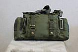 Тактическая универсальная (поясная, наплечная) сумка Silver Knight с системой M.O.L.L.E (105-olive), фото 6