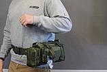 Тактическая универсальная (поясная, наплечная) сумка Silver Knight с системой M.O.L.L.E (105-olive), фото 9