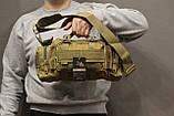 Тактическая универсальная (поясная, наплечная) сумка Silver Knight с системой M.O.L.L.E Coyote (105-coyote), фото 6