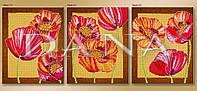 """Триптих """"Маки"""", схема частичной вышивка бисером"""