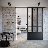 Раздвижные двери из стекла в стиле Лофт