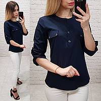 9bfc4178d83 Блуза   блузка арт. 829 темно синяя   темный синий