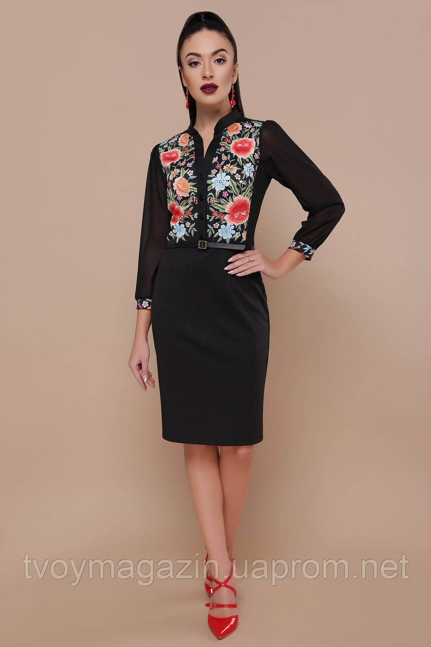Черное платье с цветочным принтом украинские мотивы Чорна сукня з квітковим принтом з украінськими мотивами