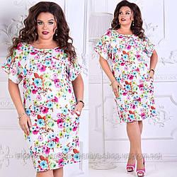 Платье женское 092 цветы 50-56 батал (лето)