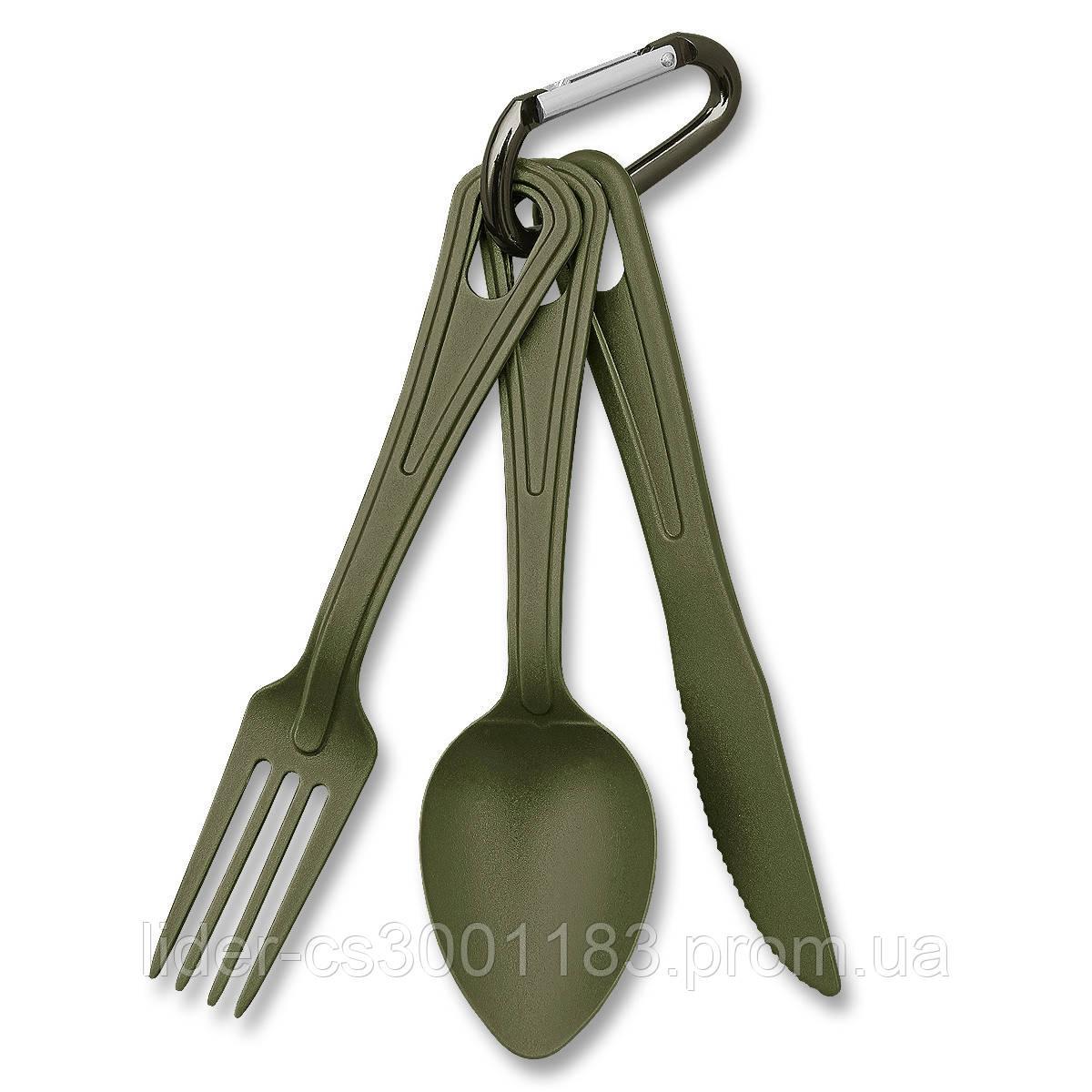 Набор: ложка, вилка, нож Mil-Tec олива Niezbędnik Lexan  (14628101)