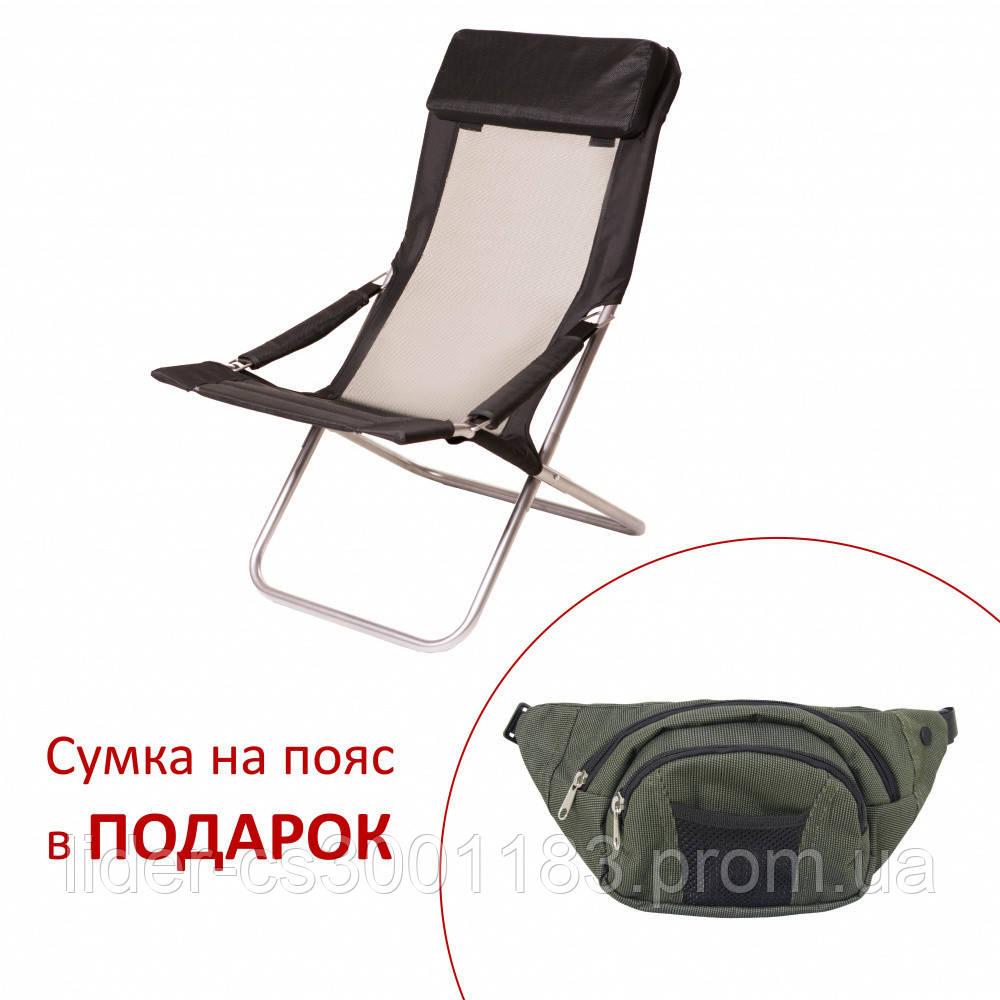 """Шезлонг """"Горизонт"""" d25 мм (текстилен черный)"""