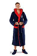 Теплый мужской махровый халат с капюшоном р.48-54, фото 2