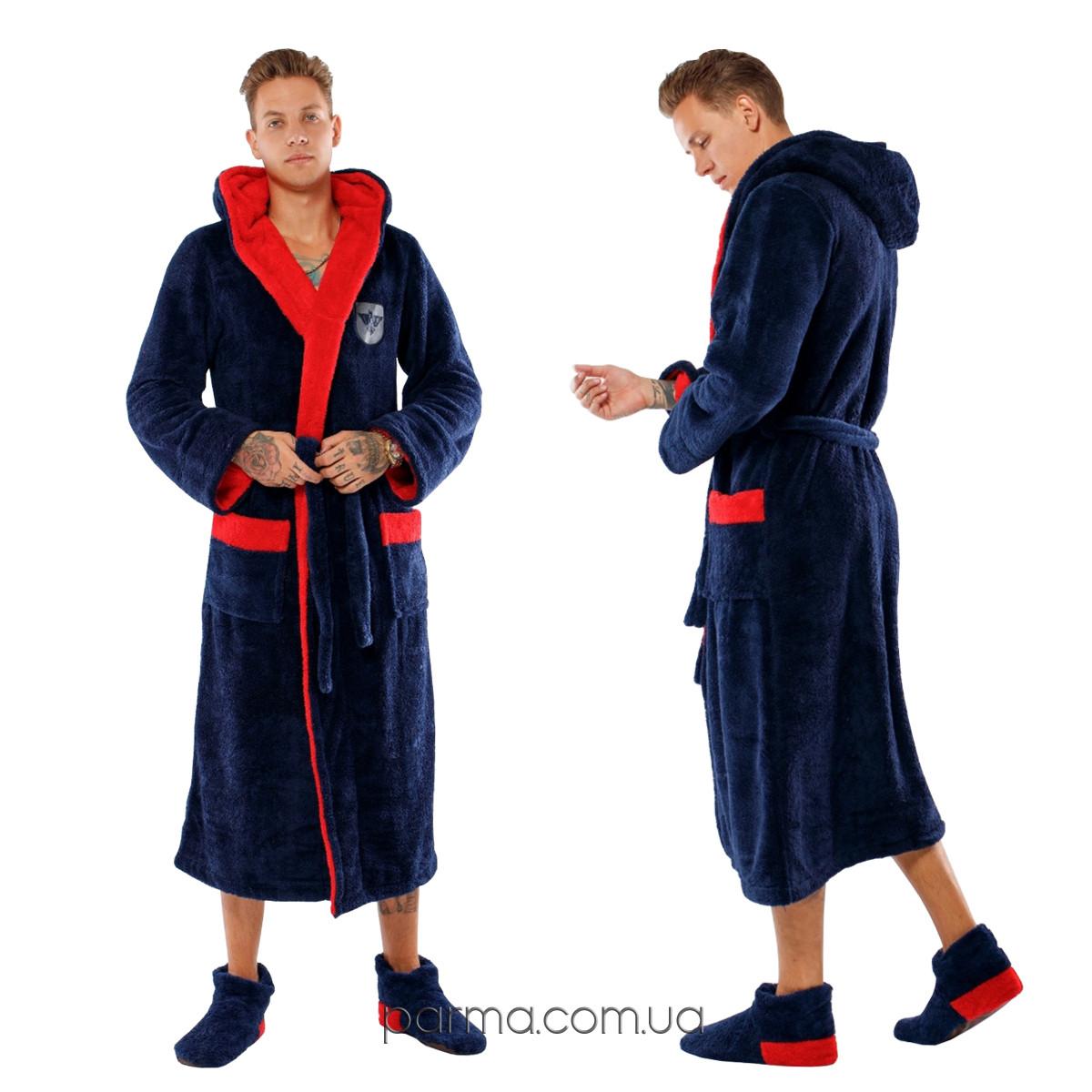 Теплый мужской махровый халат с капюшоном р.48-54