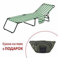 "Раскладушка ""Диагональ"" d22 мм (текстилен зелено-белая полоса), фото 1"