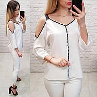 Блузка с оголёнными плечами, модель 159, цвет белый, фото 1