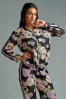 Женский батальный спортивный костюм в цветочный принт
