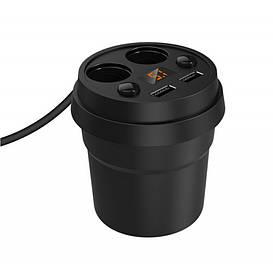Разветвитель прикуривателя 12/24V (на 2 выхода + USB) KONNWEI