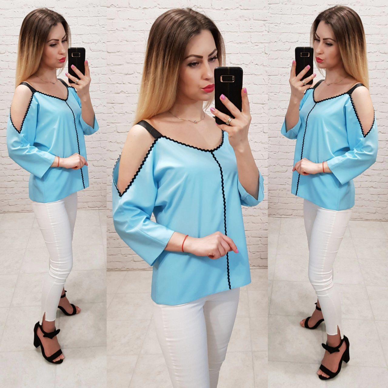 Блузка з оголеними плечима, модель 159, колір блакитний