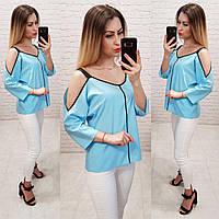Блузка з оголеними плечима, модель 159, колір блакитний, фото 1