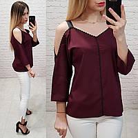 Блуза со спущенными плечами, модель 159, цвет марсала
