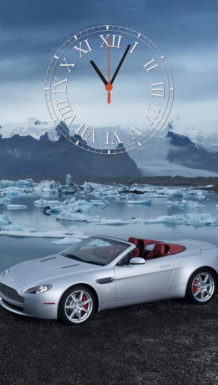 "Часы настенные стеклянные  ""Aston Martin V8"""