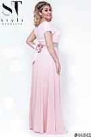 Оригинальное вечернее платье в греческом стиле с  расклешенной юбкой в пол размер Универсальный батал, фото 3