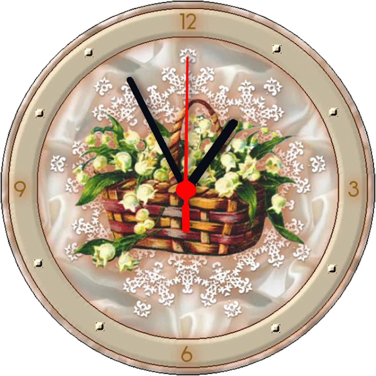 """настенные часы МДФ круглые """"Корзинка ландышей"""""""