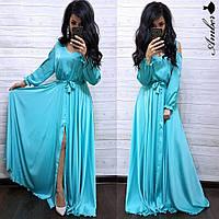Платье в пол женское стильное открытые плечи с поясом и разрезом Smma3152