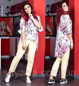 Женский костюм: брюки и блуза в расцветках, р-р 48-58. Ш-25-1-0419