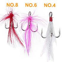ZANLURE 10pcs / lot Treble Feather Рыбалка Приманки Крючки Аксессуары для прихватки - 1TopShop, фото 3
