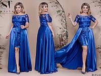 Шикарное вечернее платье из королевского атласа и сетки с вышивкой с 48 по 52 размер