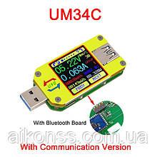 Оригинал от RIDEN ! Многофункциональный USB тестер RUIDENG  UM34C Bluetooth USB 3.0  APP андроид , осциллограф