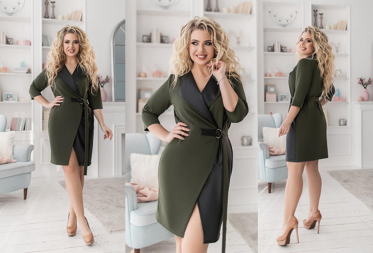 Стильное платье в комбинации с эко-кожей