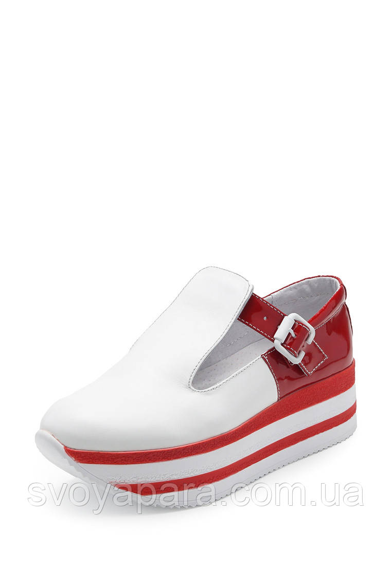Туфли криперсы женские белые с красным кожаные на платформе (101504)