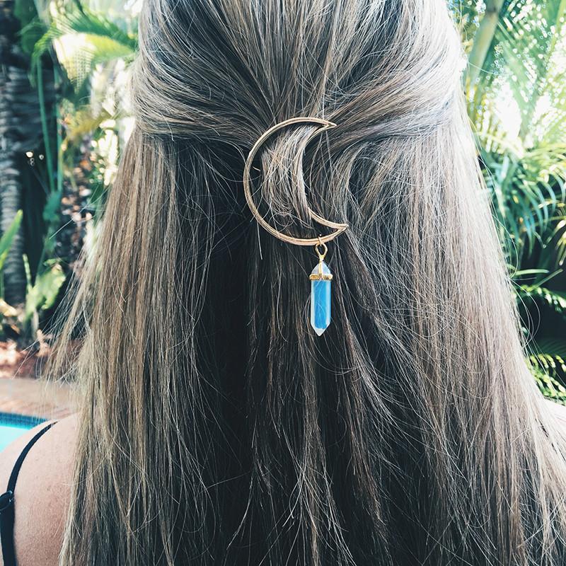 Многоцветный натуральный камень Волосы Clip Hollow Moon Шарм Волосы Аксессуары для Женское - 1TopShop