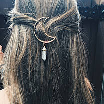 Многоцветный натуральный камень Волосы Clip Hollow Moon Шарм Волосы Аксессуары для Женское - 1TopShop, фото 2